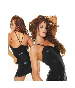 Sextoys, sexshop, loveshop, lingerie sexy : Clubwear / Tenues Sexy : Robe clubwear vinyle noir S