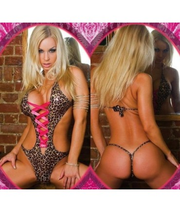 Sextoys, sexshop, loveshop, lingerie sexy : Bodys & Teddys : Body sexy panthère laçage rose S/M
