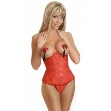 Sextoys, sexshop, loveshop, lingerie sexy : Bustiers et Corsets : Corset sexy satin rouge L