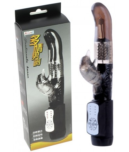 Sextoys, sexshop, loveshop, lingerie sexy : Vibro Rabbit : Vibromasseur rabbit rotatif a perles Noir