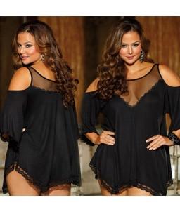 Sextoys, sexshop, loveshop, lingerie sexy : Lingerie sexy grande taille : Blouse sexy noir taille L/XL