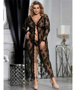 Sextoys, sexshop, loveshop, lingerie sexy : Lingerie sexy grande taille : Déshabillé Long noir en Dentelle XL