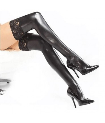 Sextoys, sexshop, loveshop, lingerie sexy : Bas & Collants : Bas vinyle noir et dentelle