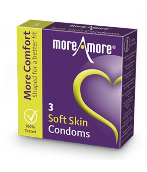 Sextoys, sexshop, loveshop, lingerie sexy : Préservatifs : Moreamore boite de 3 Préservatifs soft skin