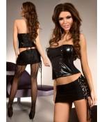 Sextoys, sexshop, loveshop, lingerie sexy : Lingerie Style Cuir & Vinyle Femme : Ensemble sexy rock livia corsetti M