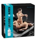 Sextoys, sexshop, loveshop, lingerie sexy : Massage Nuru : Coffret drap gonflable étanche noir pour massage nuru + 1 litre de...