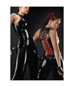 Sextoys, sexshop, loveshop, lingerie sexy : Lingerie Style Cuir & Vinyle Femme : Combinaison sexy noire vinyle à laçage rouge