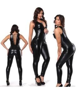 Sextoys, sexshop, loveshop, lingerie sexy : Lingerie Style Cuir & Vinyle Femme : Combinaison sexy noire vinyle L