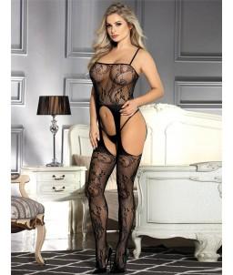 Sextoys, sexshop, loveshop, lingerie sexy : Combinaisons : Combinaison sexy et transparente noire - effet porte jarretelle