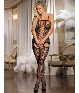 Sextoys, sexshop, loveshop, lingerie sexy : Combinaisons : Combinaison noire femme effet porte jarretelle