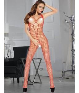 Sextoys, sexshop, loveshop, lingerie sexy : Combinaisons : Combinaison sexy grande résille rouge TU