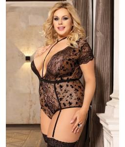 Sextoys, sexshop, loveshop, lingerie sexy : Lingerie sexy grande taille :  Body Dentelle noir Sexy 4XL/5XL