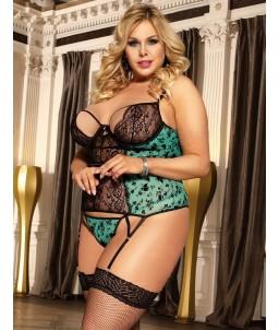 Sextoys, sexshop, loveshop, lingerie sexy : Lingerie sexy grande taille : Déshabillé Sexy dentelle vert L/ XL