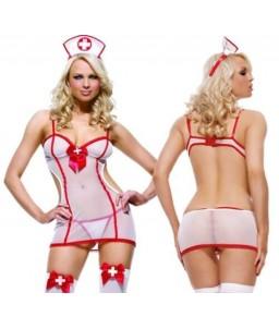 Sextoys, sexshop, loveshop, lingerie sexy : Deguisement Femme sexy : Costume Sexy Infirmière transparent S/M