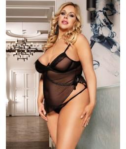 Sextoys, sexshop, loveshop, lingerie sexy : Lingerie sexy grande taille : Sexy ensemble transparent Noir Sexy XXL/XXXL