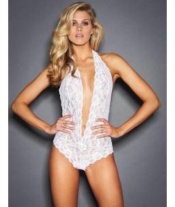 Sextoys, sexshop, loveshop, lingerie sexy : Bodys & Teddys : Body sexy Blanc décolleté dentelle S/M
