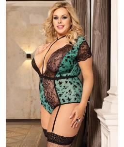 Sextoys, sexshop, loveshop, lingerie sexy : Lingerie sexy grande taille :  Body Dentelle noir et vert Sexy 4XL/5XL
