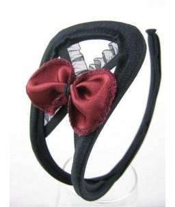 Sextoys, sexshop, loveshop, lingerie sexy : C-String : C-String noir Dentelle et Sequins et noeud bordeau