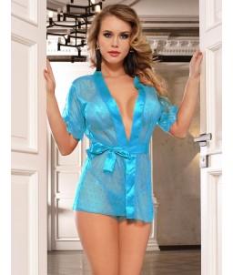 Sextoys, sexshop, loveshop, lingerie sexy : Déshabillés : Déshabillé kimono bleu transparent à pois S/M