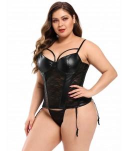 Sextoys, sexshop, loveshop, lingerie sexy : Lingerie sexy grande taille : Corset Sexy simili cuir et dentelle XXL