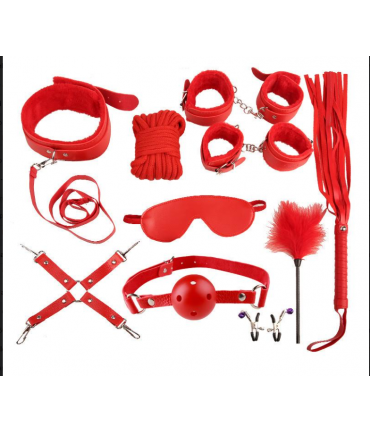 Sextoys, sexshop, loveshop, lingerie sexy : Kit BDSM : Coffret Fetish fourrure rouge BDSM
