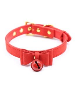Sextoys, sexshop, loveshop, lingerie sexy : Colliers : Collier avec nœud et grellots rouge bdsm