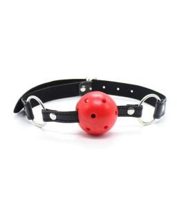 Sextoys, sexshop, loveshop, lingerie sexy : Baillons : Baillon boule perforée rouge collier noir