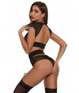 Sextoys, sexshop, loveshop, lingerie sexy : Déshabillés : Ensemble de soutien-gorge et string jarretière élégant taille haute...