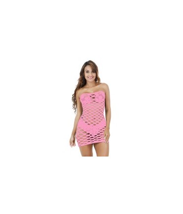 Sextoys, sexshop, loveshop, lingerie sexy : Robes sexy : mini robe sexy en résille rose clair