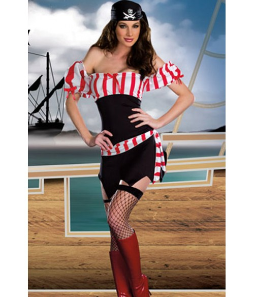 Sextoys, sexshop, loveshop, lingerie sexy : Deguisement Femme sexy : Costume Sexy Pirate S/M