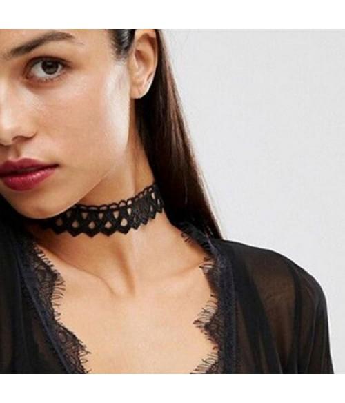 Sextoys, sexshop, loveshop, lingerie sexy : Accessoires Soirée Coquine : Colliers sexy dentelle noir TU