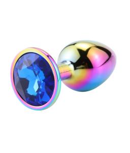 Sextoys, sexshop, loveshop, lingerie sexy : Rosebud - bijou anal : Bijou anal Rosebud Rainbow LARGE Bleu Foncé