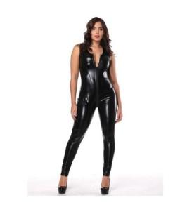Sextoys, sexshop, loveshop, lingerie sexy : Lingerie Style Cuir & Vinyle Femme : Combinaison sexy noire vinyle XL