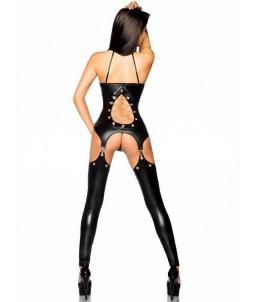 Sextoys, sexshop, loveshop, lingerie sexy : Clubwear / Tenues Sexy : Combinaison Noire ouverte Vinyle L