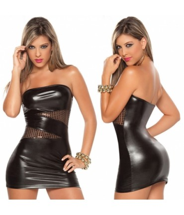 Sextoys, sexshop, loveshop, lingerie sexy : Robes sexy : Robe sexy vynil noire XL