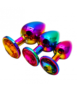Sextoys, sexshop, loveshop, lingerie sexy : Rosebud - bijou anal : Bijou anal Rosebud Rainbow MEDIUM gold / orange