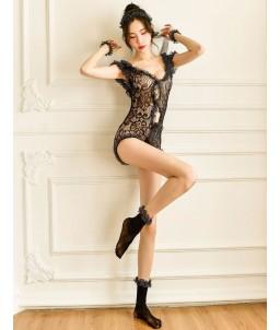 Sextoys, sexshop, loveshop, lingerie sexy : Deguisement Femme sexy : Ensemble combishort dentelle S/L
