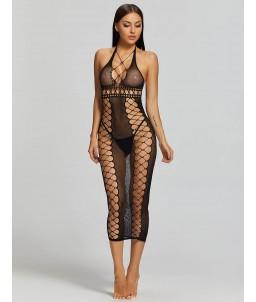 Sextoys, sexshop, loveshop, lingerie sexy : Robes sexy : Robe résille noir longue sexy TU