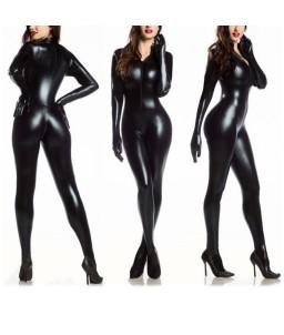 Sextoys, sexshop, loveshop, lingerie sexy : Clubwear / Tenues Sexy :  Combinaison femme vinyle fermeture noir M