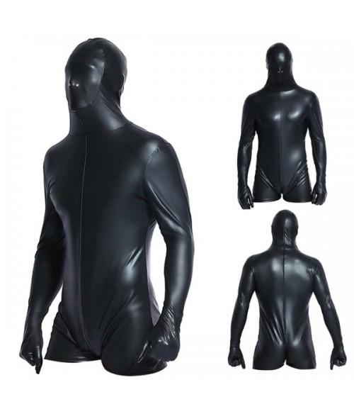 Sextoys, sexshop, loveshop, lingerie sexy : Lingerie Sexy Homme : Combishort intégrale homme vinyle noir XL