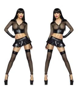 Sextoys, sexshop, loveshop, lingerie sexy : Lingerie Style Cuir & Vinyle Femme : Ensemble sexy simili cuir et résille noire