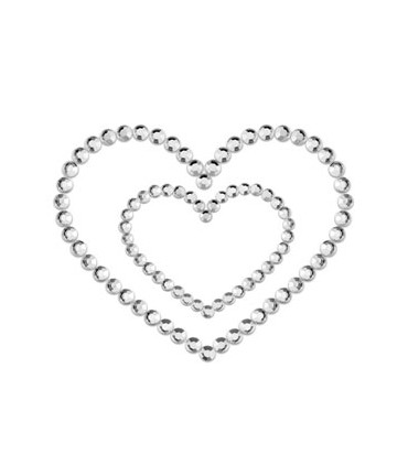 Sextoys, sexshop, loveshop, lingerie sexy : Nippies Cache Seins : Nippies Cache tétons en faux diamants Coeur ARGENT