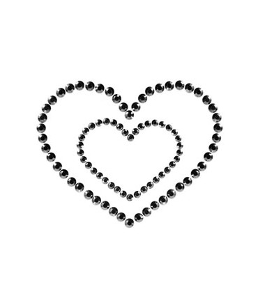 Sextoys, sexshop, loveshop, lingerie sexy : Nippies Cache Seins : Nippies Cache tétons en faux diamants Coeur NOIR