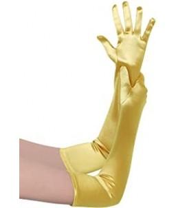 Sextoys, sexshop, loveshop, lingerie sexy : gants sexy : Gants Satin Doré or jaune Long