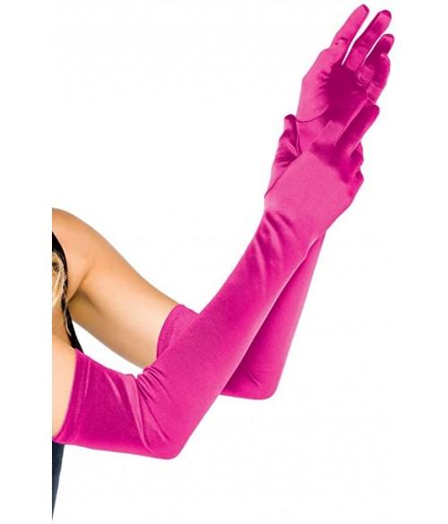 Sextoys, sexshop, loveshop, lingerie sexy : gants sexy : Gants Satin rose fushia Long