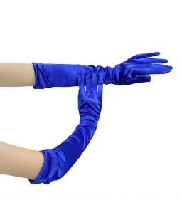 Sextoys, sexshop, loveshop, lingerie sexy : gants sexy : Gants Satin bleu électrique Long