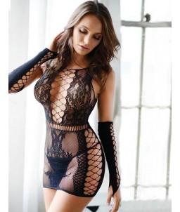 Sextoys, sexshop, loveshop, lingerie sexy : Robes sexy : Robe et gants résille noir sexy TU