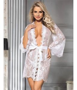 Sextoys, sexshop, loveshop, lingerie sexy : Déshabillés : Déshabillé kimono blanc en dentelle L/XL