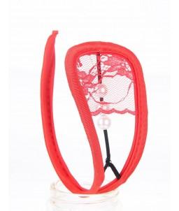 Sextoys, sexshop, loveshop, lingerie sexy : C-String : C string rouge sexy avec perle