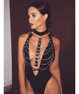 Sextoys, sexshop, loveshop, lingerie sexy : Harnais bdsm : bijoux collier ceinture BDSM femme